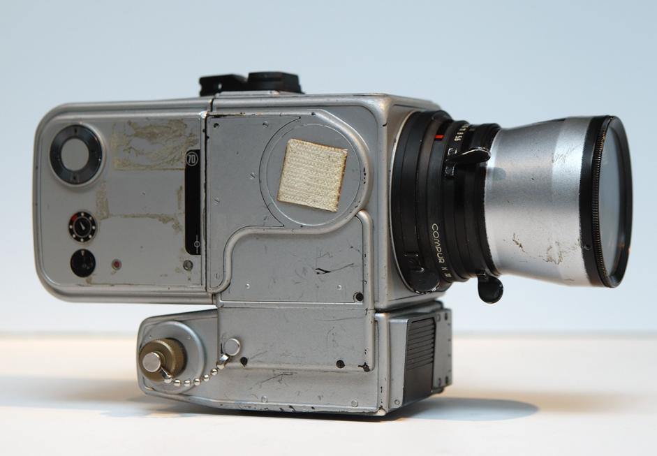 A Hasselblad 500 'EL DATA CAMERA HEDC' is displayed at Westlicht photographic gallery and auction house in Vienna